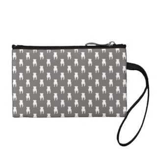 White Pug Silhouettes on Grey Background Change Purse