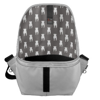 White Pug Silhouettes on Grey Background Courier Bag