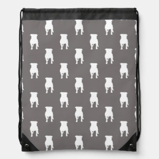 White Pug Silhouettes on Grey Background Drawstring Backpack