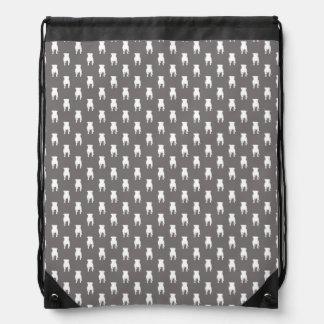 White Pug Silhouettes on Grey Background Drawstring Bag