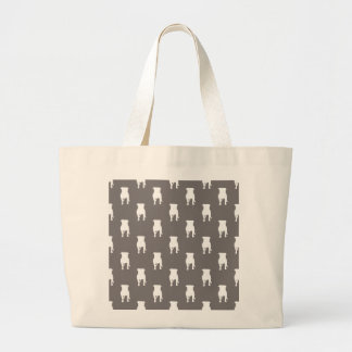 White Pug Silhouettes on Grey Background Large Tote Bag