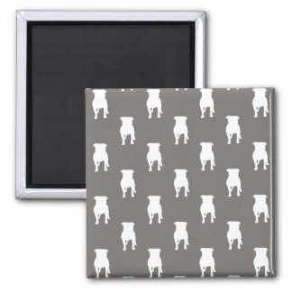 White Pug Silhouettes on Grey Background Magnet