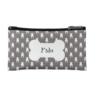 White Pug Silhouettes on Grey Background Makeup Bag