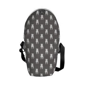 White Pug Silhouettes on Grey Background Messenger Bag