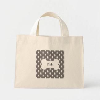 White Pug Silhouettes on Grey Background Mini Tote Bag