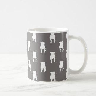 White Pug Silhouettes on Grey Background Basic White Mug