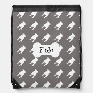 White Pug Silhouettes on Grey Background Drawstring Bags