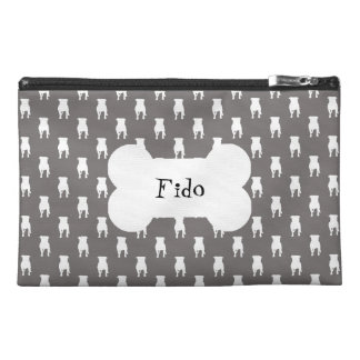 White Pug Silhouettes on Grey Background Travel Accessories Bag