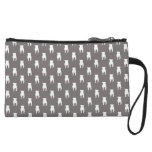 White Pug Silhouettes on Grey Background Wristlet
