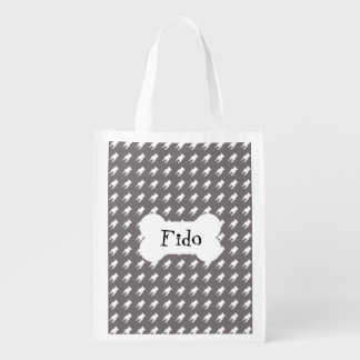 White Pug Silhouettes on Grey Background Reusable Grocery Bags