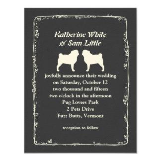 "White Pug Silhouettes Wedding Announcement 4.25"" X 5.5"" Invitation Card"