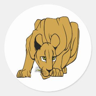 White Puma Cougar Panther Mountain Lion Classic Round Sticker