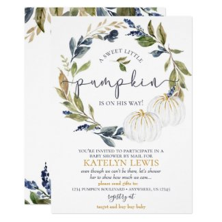 White Pumpkin Baby Shower by Mail Invitation