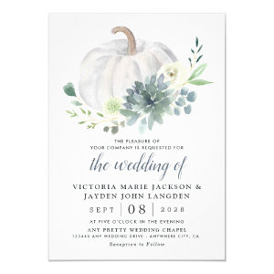 White Pumpkin Elegant Succulent Wedding Invitations Fall Chic