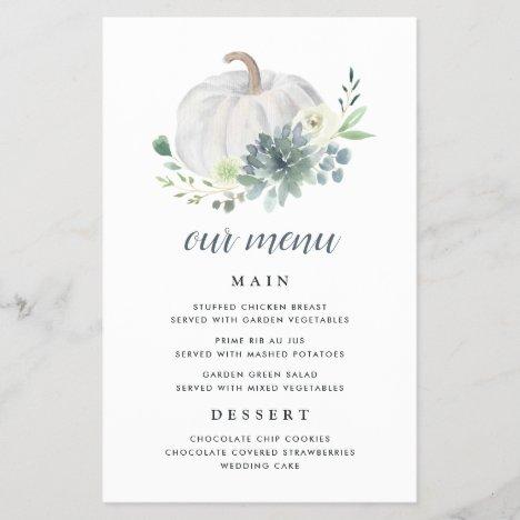 White Pumpkin Elegant Succulent Fall Menu Cards