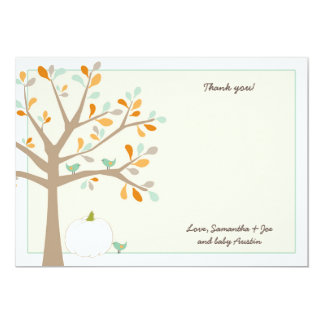 White pumpkin fall baby shower thank you notes card