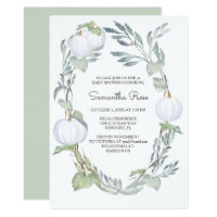WHITE PUMPKIN Greenery BABY Shower Invite