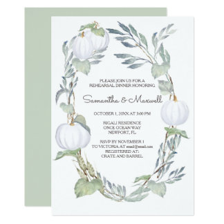 WHITE PUMPKIN Greenery Rehearsal Dinner Invite