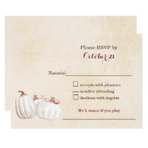 white pumpkins fall harvest wedding RSVP Card