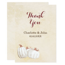 white pumpkins fall harvest wedding thank you card