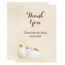 white pumpkins fall harvest wedding thank you card