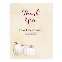 white pumpkins fall harvest wedding thank you postcard