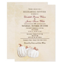 white pumpkins Fall rehearsal dinner invitation