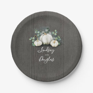 White Pumpkins Rustic Country Fall Inspired Paper Plate