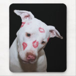 White Puppy Dog Love, Sealed with Lipstick Kisses Mouse Pad