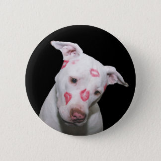 White Puppy Dog Love, Sealed with Lipstick Kisses Pinback Button