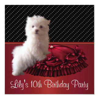 White Puppy Girls 10th Birthday Party 5.25x5.25 Square Paper Invitation Card