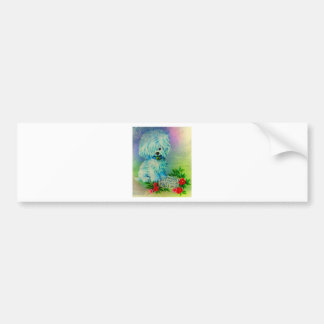 White Puppy with Tiara and Flowers Bumper Sticker