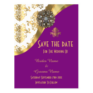White, purple and gold damask save the date postcard