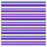 [ Thumbnail: White, Purple & Blue Striped Pattern Fabric ]
