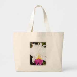 White & Purple Cattleya Orchid Large Tote Bag