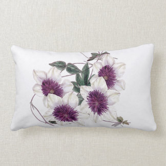 White Purple Center Clematis Indoor Lumbar Pillow