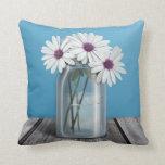 White & Purple Daisy Blue Mason Jar Pillow