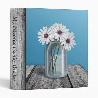 White & Purple Daisy Mason Jar Rustic Blue Binder