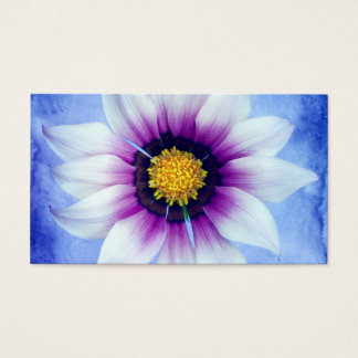 White & Purple Daisy on Blue Background Customized Business Card