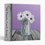 White & Purple Daisy Rustic Mason Jar Binder