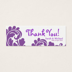 White & Purple Damask Wedding Favor Gift Tag at Zazzle