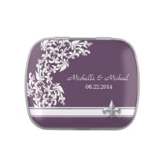 White Purple Fleur De Lis Pattern Wedding Jelly Belly Candy Tins at Zazzle