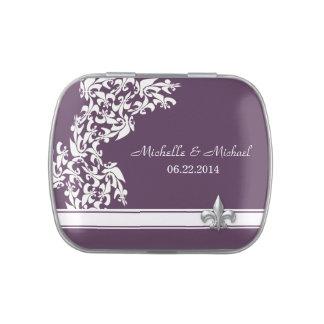 White Purple Fleur de Lis Pattern Wedding Jelly Belly Candy Tins