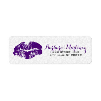 White & Purple Floral Damasks Makeup Artist Design Label
