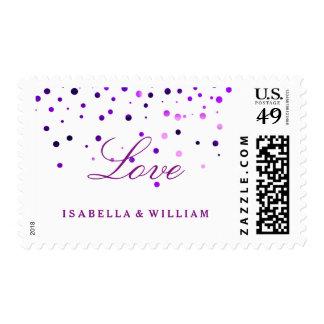 White Purple Glitter Confetti Faux Foil Love Postage