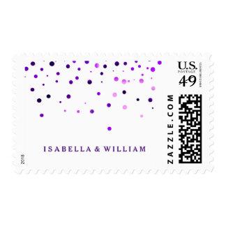 White Purple Glitter Confetti Faux Foil Postage