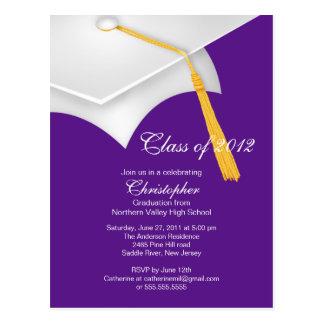 White Purple Grad Cap Graduation Party Invitation Postcard