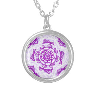 White & Purple Mandala Pattern Silver Plated Necklace