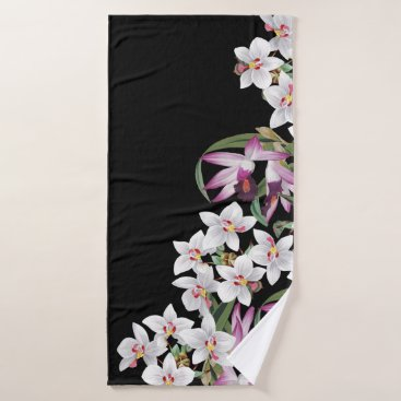 Hawaiian Themed White Purple Orchid Flowers Bath Towel Set