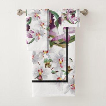 Hawaiian Themed White Purple Orchid Flowers Stripe Bath Towel Set